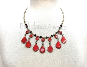 Tribal Necklace - Coral Teardrop