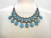 Tribal Necklace - Turquoise Round & Teardrop