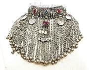 Tribal Necklace - Badawiya Choker - Red & Green with Coins