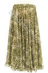 Single Layer Chiffon Skirt - Green Animal Print