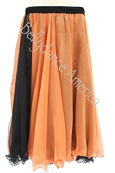 Double Layer Chiffon Skirt - Black & Orange Reversible