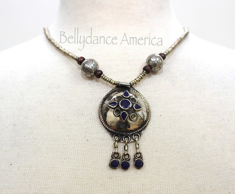 Tribal Necklace - Silver & Lapis Round